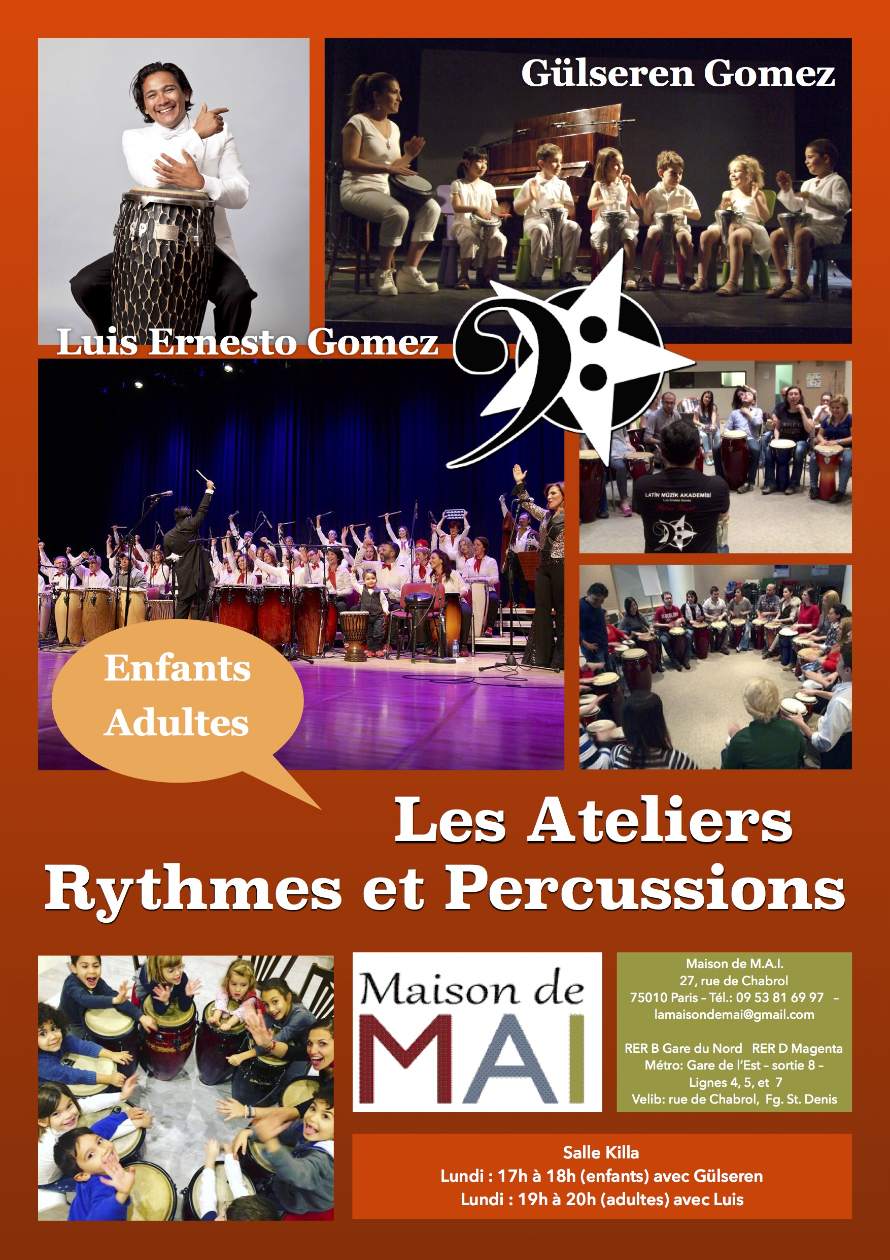Ateliers Percussions enfants et adultes à Paris 10e